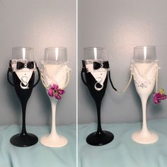 Bride and Groom champagne glasses with magnetic 'hands', perfect wedding gift by MyAwesomeWedding on Etsy