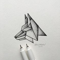 Finished version of the geo fox head. #fox #art #illustration
