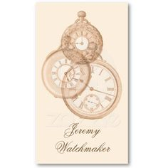 Antique watch repair business card. Sepia tinted engravings of old pocket watches.