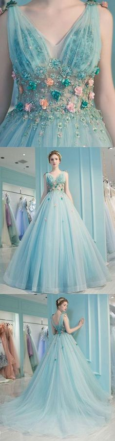 Blue v neck tulle long prom dress, blue evening dress P1414 #promdresses #longpromdress #2018promdresses #fashionpromdresses #charmingpromdresses #2018newstyles #fashions #styles #hiprom #prom #blueprom