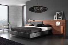 Aveiro - Contemporary Queen Size #Bed in Black and Walnut