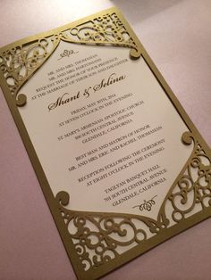 Laser Cut Wedding Invitation Pocket, Frame with swirl pattern, Custom Personalized