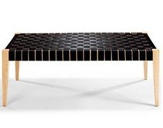 Bench made from post-industrial automotive seat belts