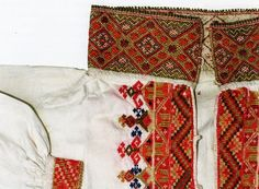 FolkCostume&Embroidery: East Telemark, Norway, embroidered shirts for Raudtrøye and Beltestakk Folk Costume, Costumes, Bridal Crown, Embroidered Shirts, Floral Tie, Norway, Patches, Cross Stitch, Textiles