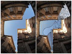 FILL THE BLANK SPACE: Ilustraciones en el espacio entre los edificios