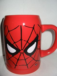 Marvel Comics Spider-Man Eyes 22 oz Coffee Cup Mug Stein Red Black Web New