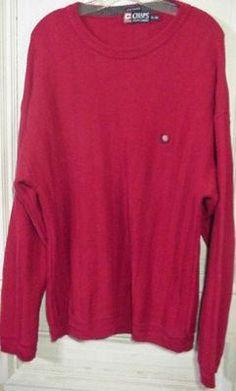 $29.99 New Ralph Lauren Chaps Sweater Mens Cotton Size Xl 1X X Crew Neck Red Christmas