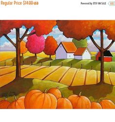 Art Print Sale 5x7 Pumpkins Art Print by Cathy Horvath Modern Folk Fall Country Field Tree Color Farm Cottage Giclee Autumn Landscape Reprod