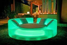 Illuminated backyard furniture glows in the dark