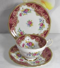 Vintage 1939  Fine bone china Paragon   Tea Set of Tea Cup, Saucer, Side Plate by TheMewsCottage on Etsy