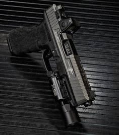 Salient Arms International Glock w/Trijicon RMR + SureFire Ultra Custom Glock, Custom Guns, Revolver, Glock Mods, Salient Arms, Home Defense, Cool Guns, Guns And Ammo, Tactical Gear