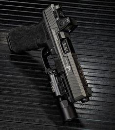 Salient Arms International Glock w/Trijicon RMR + SureFire Ultra Custom Glock, Custom Guns, Revolver, Glock Mods, Salient Arms, Fire Powers, Home Defense, Cool Guns, Guns And Ammo