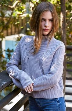 Boxy Mock Neck Pullover Sweater