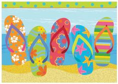 Amazon.com - Beach Fun Flip Flop Parade Boxed Note Cards - Blank Note Cards