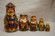 "RARE Vintage Nesting Dolls Kazakhstan Russian Wood Wooden Folk Art Figures Toys | eBay Beautiful rare set of nesting dolls from Kazakhstan. A must have for a nesting doll collection. Wonderful colors and detail on their folk costumes. Even the top of their hats have detail!Just amazing dolls.  In good condition. NBAWEHKO 5M written on bottom of first doll. Dolls are approximately 4 ½"" – 1 ¼"".RARE set to add to your nesting dolls, Kazakhstan folk collection or toy collection!"