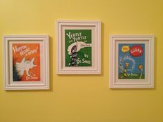 Dr. Seuss book covers in frames... I have old books that I could do this with next to the reading nook