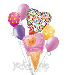 7 pc I Love You Pink Ice Cream Cone Valentines Day Balloon Bouquet Be Mine Child