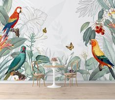 Handpainted Retro Tropical Plants and Parrots Wallpaper, Vintage Fruits and Flying Butterfly with Plants Wall Murals Wall Decor Parrot Wallpaper, Paper Wallpaper, Self Adhesive Wallpaper, Colorful Wallpaper, Custom Wallpaper, Photo Wallpaper, Modern Wallpaper, Wall Wallpaper, Tropical Wallpaper