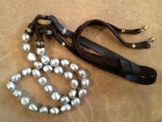 Gray Pearl and Leather Necklace by Beth Orduna