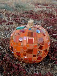 Mosaic Pumpkin with fireworks of orange Plastic Pumpkins, Mini Pumpkins, Peace By Piece, Glitter Tiles, Pumpkin Show, Glass Mosaic Tiles, Ceramic Cups, Handmade Shop, Different Shapes
