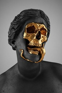 Skull sculpture   modern meets renaissance with this matt black marble neo-classic relief statue with a gold laughing skull face   objet d'art