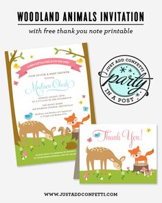 Woodland Animals Party In A Post with Free Thank You Note Printable - Just Add Confetti
