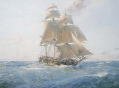 """'HMS Surprise'on The Far Side of the World, by Geoff Hunt. """"Perhaps Geoff Hunt's definitive image of the beautiful 'Surprise', the famous frigate of Patrick O'Brian's Jack Aubrey. 'Surprise' under sail at sea, many miles from home in glorious weather."""""""