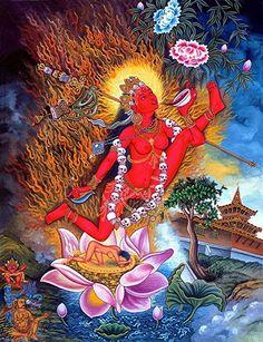 Vajrayogini, is a representation of complete Buddhahood in female form, whose practices are associated with the Chakrasamvara Cycle of Anuttarayoga Tantra Tibetan Art, Tibetan Buddhism, Buddhist Art, Buddha Buddhism, Shiva, Buddhist Practices, Sacred Feminine, Divine Feminine, Flower Ornaments