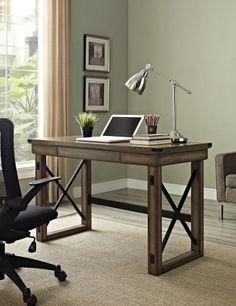 rustic office desks. Altra Furniture 9835096 Wildwood Desk With Metal Frame, Rustic Gray Finish Office Desks T