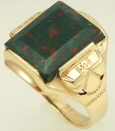 Antique 1920's Art Deco Natural Bloodstone 10k Solid Yellow Gold | eBay