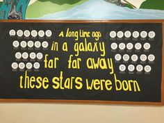 "Ours can say ""A long time ago in a galaxy far away student lighthouse leaders were born"" Space Bulletin Boards, Disney Bulletin Boards, Birthday Bulletin Boards, Classroom Bulletin Boards, Birthday Board, Classroom Ideas, Classroom Displays, Classroom Organization, Space Theme Classroom"