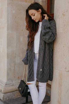 Cardigan dama gri-inchis casual supradimenionat Cardigan, Vest, Jackets, Fashion, Tricot, Down Jackets, Moda, La Mode, Fasion