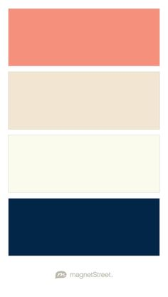 Coral, Champagne, Ivory, and Navy Wedding Color Palette - custom color palette created at MagnetStreet.com