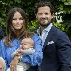 Princess Sofia of Sweden, Prince Carl Philip of Sweden with Prince Alexander at Solliden Palace. July 15 2016