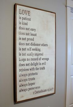wood sign love is patient verse for the master bedroom My New Room, My Room, Love Is Patient, Love Signs, Feng Shui, Room Inspiration, Just In Case, Bedroom Decor, Bedroom Ideas