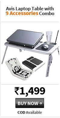 Avis Laptop Table With 9 Accessories Combo, Offer Price Rs. 1,499, Buy Now, COD AVailable.