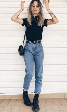17cb41304 Look Mom Jeans + Coturno Roupas Retrô, Roupas Fofas, Roupas Bonitas,  Sapatos,