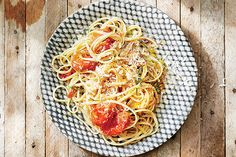 Linguine with Burst Tomatoes and Chiles recipe