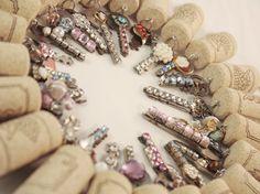 Vintage Sparkly Keys on Wine Cork Keychains
