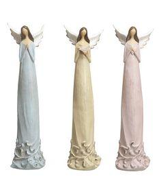 Love this Pastel Scroll-Accent Angel Figurine - Set of Three on #zulily! #zulilyfinds