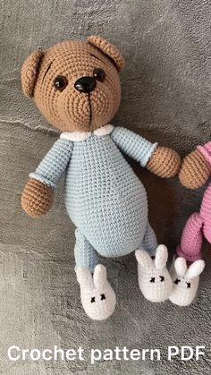 Crochet Teddy Bear Pattern, Crochet Patterns Amigurumi, Crochet Hooks, Amigurumi Toys, Stuffed Toys Patterns, Single Crochet, Pet Toys, Pajamas, Easy