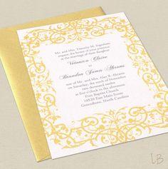 Yellow Wedding Invitation Sample Set - Golden Yellow and Gray Vintage Flourish. $2.50, via Etsy.