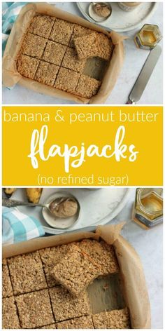 Gluten, Dairy and Refined Sugar Free. Perfect for breakfasts on the go Banana & Peanut Butter Flapjacks. Gluten, Dairy and Refined Sugar Free. Perfect for breakfasts on the go Peanut Butter Flapjacks, Peanut Butter Rice Krispies, Healthy Peanut Butter, Peanut Butter Banana, Sugar Free Flapjacks, Easy Flapjacks, Peanut Butter Chips, Peanut Butter Recipes, Healthy Recipes