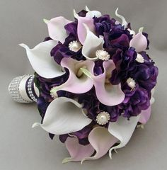 wedding bouquets with purple calla lilies - Google Search