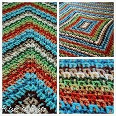 You know how to crochet a blanket when you can work up this beautiful Kaleidoscope Afghan in multiple crochet colors. The crocheted afghan is worked in rounds using the v-stitch to get the rectangular shape.