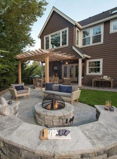 28 top stone patio design ideas for your small backyard 10 - Modern Outdoor Decor, Stone Patio Designs, Backyard Design, Small Backyard, Basketball Court Backyard, Patio Design, Outdoor Patio Decor