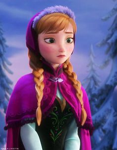 Anna looking at Arendelle completely frozen.