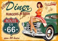 Vintage Retro Wall Decor Tin Signs,Route 66 Diner Decorative Metal Sign for Home,Pub,Cafe and x 12 inches) Pin Up Vintage, Vintage Metal Signs, Retro Vintage, Vintage Travel, Retro Poster, Vintage Posters, Route 66, Deco Retro, American Diner