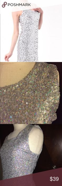 Silver Sequin Tank Dress Size Medium  Gorgeous silver sequin tank dress. Zipper in back. Fabulous condition. Size medium. Candie's Dresses Mini