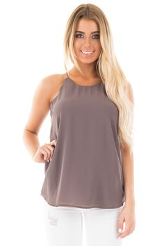 eead7b82ca75f Lime Lush Boutique - Charcoal Scallop Tank with Back Button Keyhole